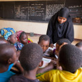 A teacher and her students in class. Ecole Patti, Makalondi, Tilaberri Region, Niger. April 2017
