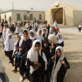 Girls at Ayno Meena Number Two school in the city of Kandahar, Afghanistan